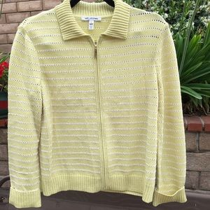 St John Light yellow zippered cardigan